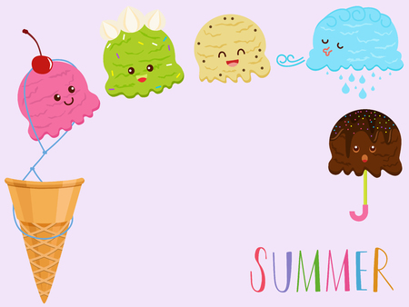 Vector illustration of cute colorful smiling ice cream scoop cartoon, many flavors with toppings, wafer cone on pink background