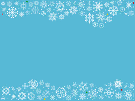 Vector illustration set of hand drawn white snowflakes as Christmas holiday decorating elements on soft blue background with blank space for text to make card, label