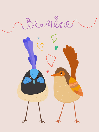 Cute vector illustration of Love birds with hearts and Be Mine text on pastel background (Male and female superb fairy blue wren) Illustration