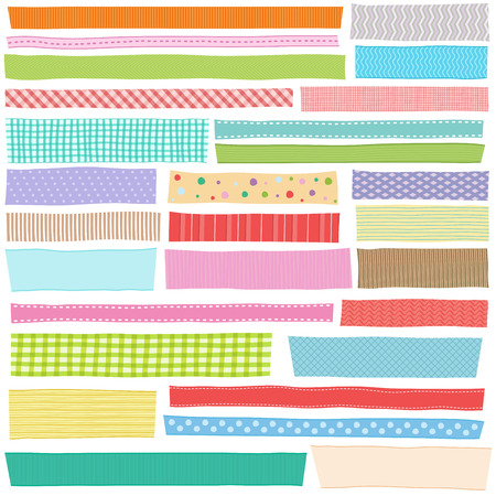 Vector illustration set of hand drawn colorful ribbon, fabric strip with patterns for decoration