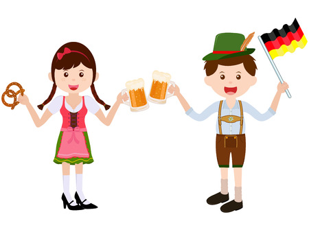 Vector illustration of cute cartoon girl wearing German Dirndl dress boy with leather Lederhosen during Oktoberfest festival