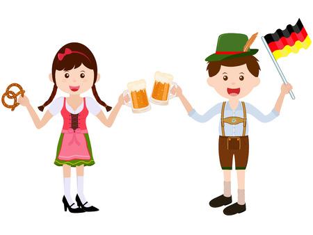 Vector l'illustrazione della ragazza sveglia del fumetto che porta il vestito tedesco dal vestito dal dirndl con Lederhosen di cuoio durante il festival di Oktoberfest Archivio Fotografico - 91899125