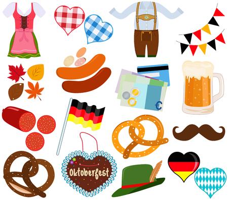Illustratiereeks van de leuke kleding van Oktoberfest Dirndl Lederhosen, voedsel, drank tijdens partijfestival op witte achtergrond.