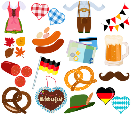 Illustration set of cute Oktoberfest Dirndl Lederhosen dress, food, beverage during party festival on white background.