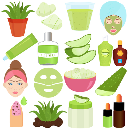 Cute Vector illustration set of Aloe Vera gel used in beauty treatment products, food and drink Vectores
