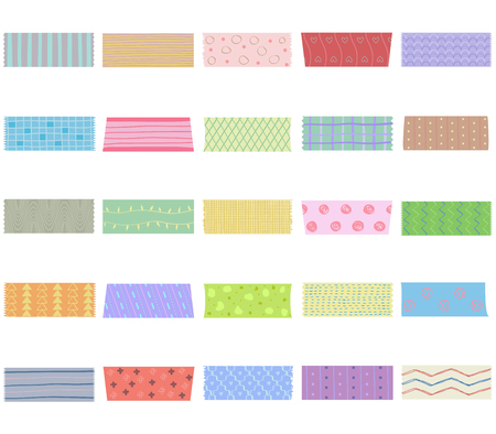 Vector illustration set of cute colorful hand drawn masking tape (Washi tape) fabric strip, blank tags labels stickers with patterns in pastel color as design elements for decoration isolated on white Vettoriali