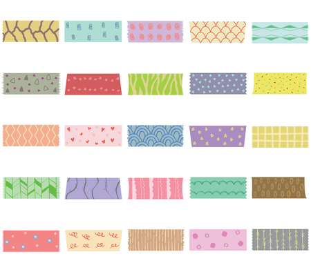 Vector illustration set of cute colorful hand drawn masking tape (Washi tape) fabric strip, blank tags labels stickers with patterns in pastel color as design elements for decoration isolated on white Ilustracja