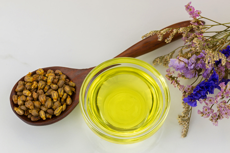 Organic cold pressed grapeseed oil in clear bowl with dried grape seeds in wooden spoon on marble background  Stock Photo