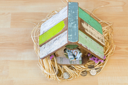 Cute wooden bird house with dollar money banknote at entrance, coins on bird nest on wooden floor, high angle view