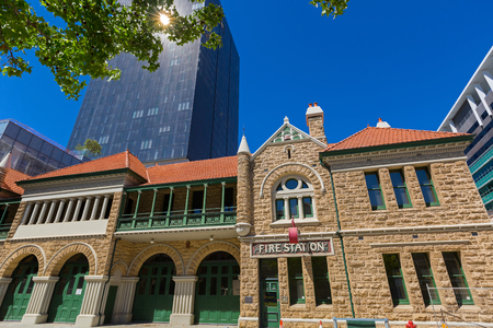 PERTH, AUSTRALIA - FEBRUARY 2018 : Old Perth Fire Station (Fire brigade Number 1 Station) on Murray St. in Perth, Australia on February 24, 2018. It is now Fire Safety Education and Heritage Centre Museum. Редакционное
