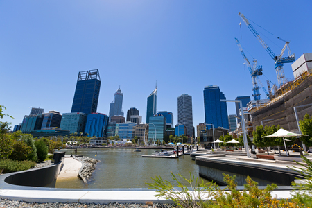 PERTH, AUSTRALIA - FEBRUARY 2018 : Afternoon view of Central Business District (CBD), Skyscrapers, buildings in Perth, Australia on February 24, 2018. View from Elizabeth Quay.