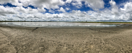 Panoramic view of salt lake shore with blue sky background at Serengeti National Park in Tanzania, East Africa