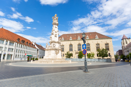 BUDAPEST, HUNGARY - JULY 2018 : Trinity Column at Holy Trinity Square on Castle Hill, Buda Palace in Budapest, Hungary on July 19, 2018.