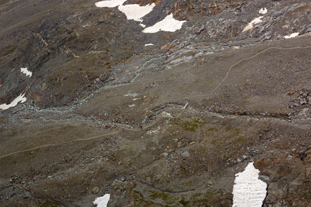 Partial snow visible on spacious land at Stubai Glacier during summer in Tyrol, Austria