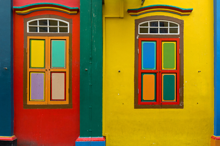 Colorful Tan Teng Niah building, facade of last Chinese villas left in Little India, Singapore