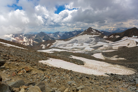 Partial snow visible on spacious land at Stubai Glacier during summer in Tyrol, Austria