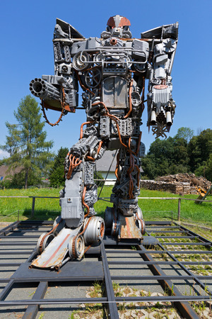 STYRIA, AUSTRIA - JULY 2018 : Big tall Transformer art at Arnold Alois Schwarzenegger Museum Thal, his birthplace in Thal village, Styria in Austria on July 20, 2018