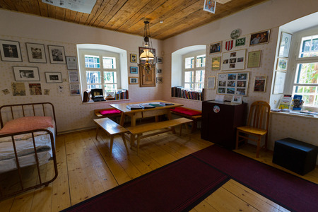 STYRIA, AUSTRIA - JULY 2018 : Arnold Schwarzeneggers bedroom when he was a child at Arnold Alois Schwarzenegger Museum Thal, his birthplace in Thal village, Styria in Austria on July 20, 2018
