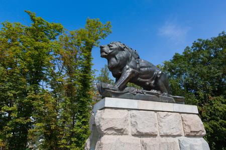 Hackher lion statue on top of Schlossberg Castle Hill in Graz, summer in Austria, Europe