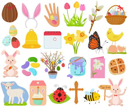 Vector set of Easter holiday, spring season in cute colorful theme. Collection of animal, flower, food icons in pastel color on white background. Ilustração Vetorial