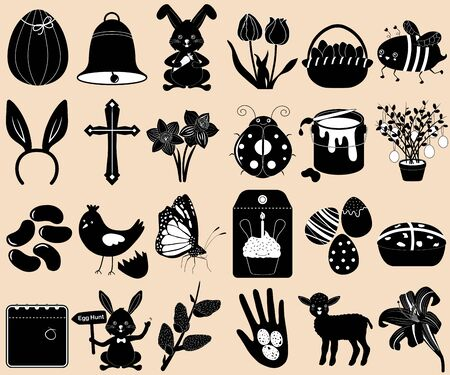 Vector Silhouette set of Easter holiday, spring season in cute colorful theme. Collection of animal, flower, food icons in black color on white background.