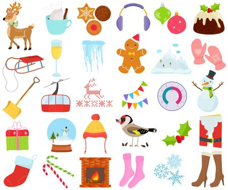 Vector of Winter season set, Christmas New year holiday decoration theme in flat design illustration. Bundle of cute colorful icon collection isolated on white background. Illustration