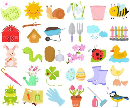 Vector of Spring season set, seasonal decoration theme in flat design illustration. Bundle of cute colorful icon collection isolated on white background.
