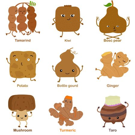 Cute vector of square shaped smiling fruit, vegetable with happy face in brown color - Tamarind Kiwi Pear Potato Bottle gourd Ginger Mushroom Turmeric Taro. Colorful illustration set on white background