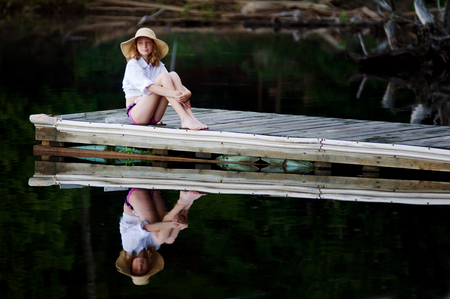 girl on a dock photo