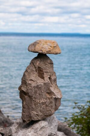 close up of a stack of rocks balanced on each other