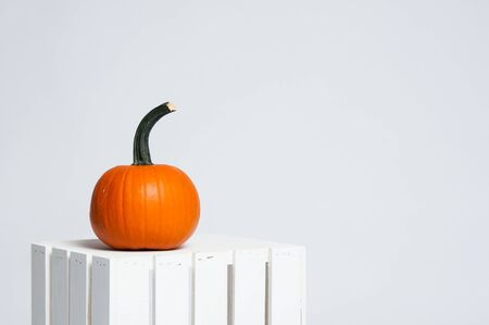 single bringht orange pumpkin on a white crate