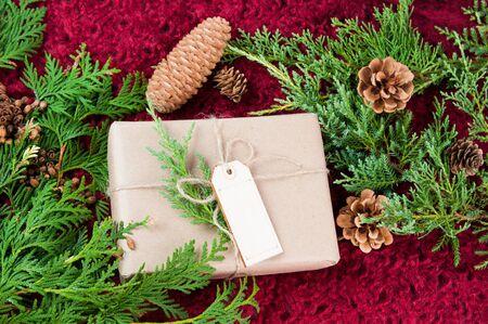 vánoční balíček na červeném pozadí se zelení Reklamní fotografie