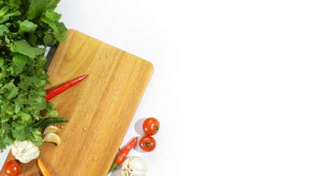 herbs tomatto and chili garlic white isolated