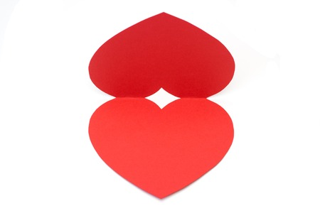 emplate: Red paper heart card Valentines day isolated on the white background