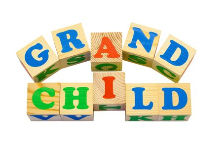 made to order: Wood cube with inscription GRANDCHILD isolated on a white background