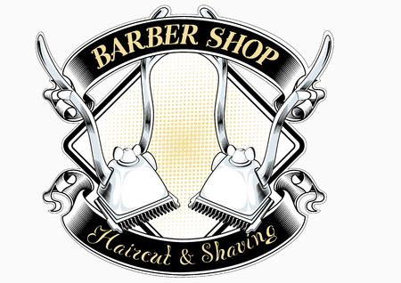Peluquería salón corte de pelo vintage logo clásico retro logo vector
