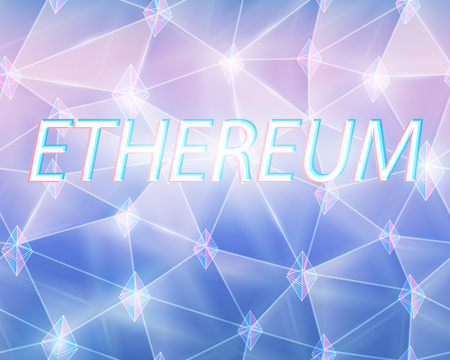 Ethereum cryptocurrency coin crystal art icon logo for apps and websites. Seamless background Illustration