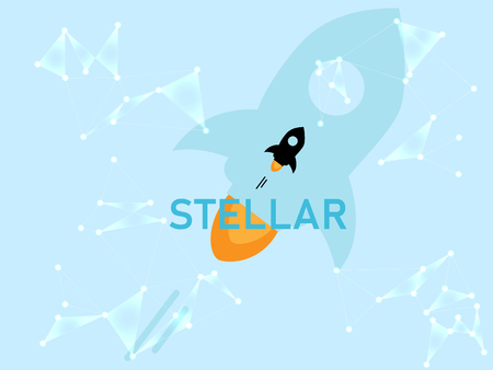 Banner, poster crypto currency symbol stellar on blue background. Stock illustration. Illustration