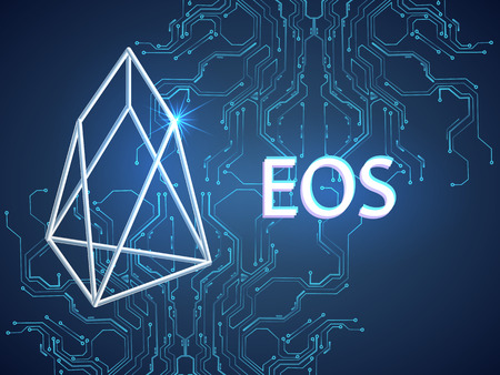 Banner, poster crypto currency symbol eos on blue background. Stock illustration.