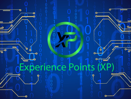 Banner, poster crypto currency symbol experience points on blue background. Stock illustration.