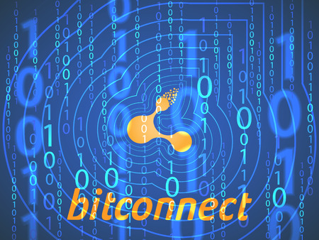 Banner, poster crypto currency symbol bitconnect on dark blue background. Stock illustration. Crypto currency symbol Çizim