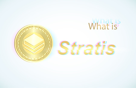 Realistic gold coin stratis and light blue background . Stock illustration. Glitch style