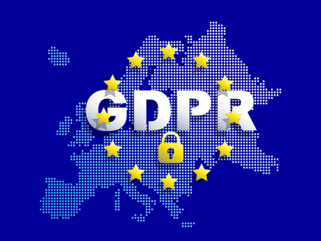 GDPR - General Data Protection Regulation. Dotted Europe map and flag. Protection of personal data. Vector illustration.