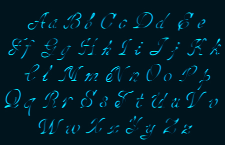 Neon tube hand drawn alphabet font. Type letters on a dark background. Vector typeface for labels, titles, posters etc.