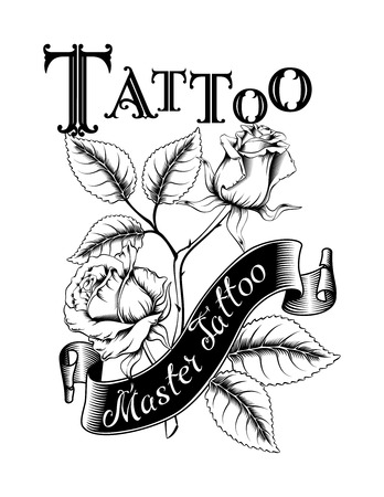 Hand drawn vector illustration of tattoo logo with roses and leaves. Ideal for invitations, greeting cards, quotes, tattoos, textiles, blogs, posters, etc. Фото со стока