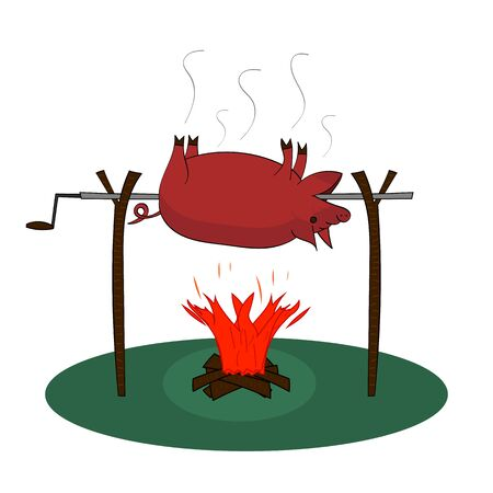 A whole pig is roasting over a fire on a rotisserie on bonfire with firewood on white background. Vector isolated drawing. Illustration in flat style.