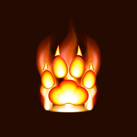 Fire silhouette of a paw print with claws in a flame of fire. Animal footprint and predator trace. Cat, lion, leopard, tiger, fox, wolf, coyote, dog, bear or other animals.