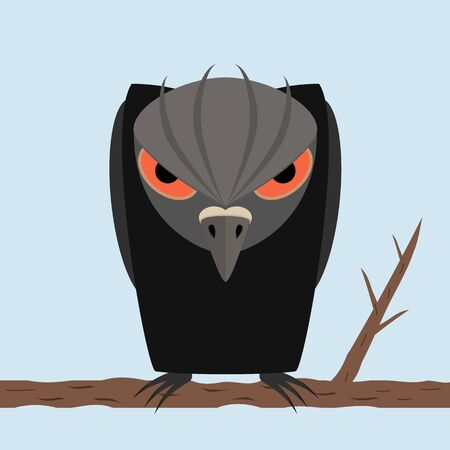 Angry black raven sits on a tree branch on blue sky background. A personified character like human. Black silhouette bird with long curved beak and evil look in the eyes. Vector illustration. Zdjęcie Seryjne - 145477468