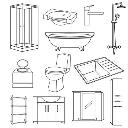 A set of items for the bathroom and toilet room. Transparent outline icons set. Sanitary ware and furniture for the bathroom, toilet, kitchen. Illustration with isolated items. Sink and fittings.
