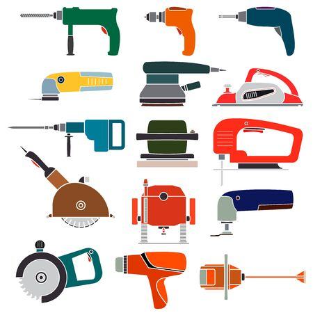 Set electric power tools. Colorful bright icons of various power tools for carpentry and construction work including a jigsaw, hammer, circular saw, drill. Vector isolated flat illustrations.
